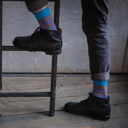 Мужские носки высокие Burning heels, круги синие