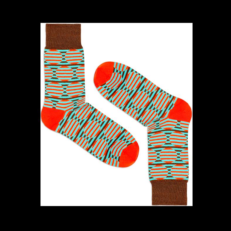 Мужские носки высокие Burning heels, круги коричневые