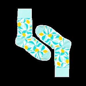 Мужские носки высокие Burning heels, лимоны, голубые