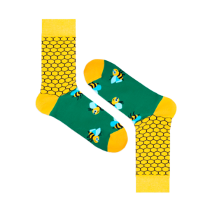 Мужские носки высокие Burning heels, пчела жёлтая