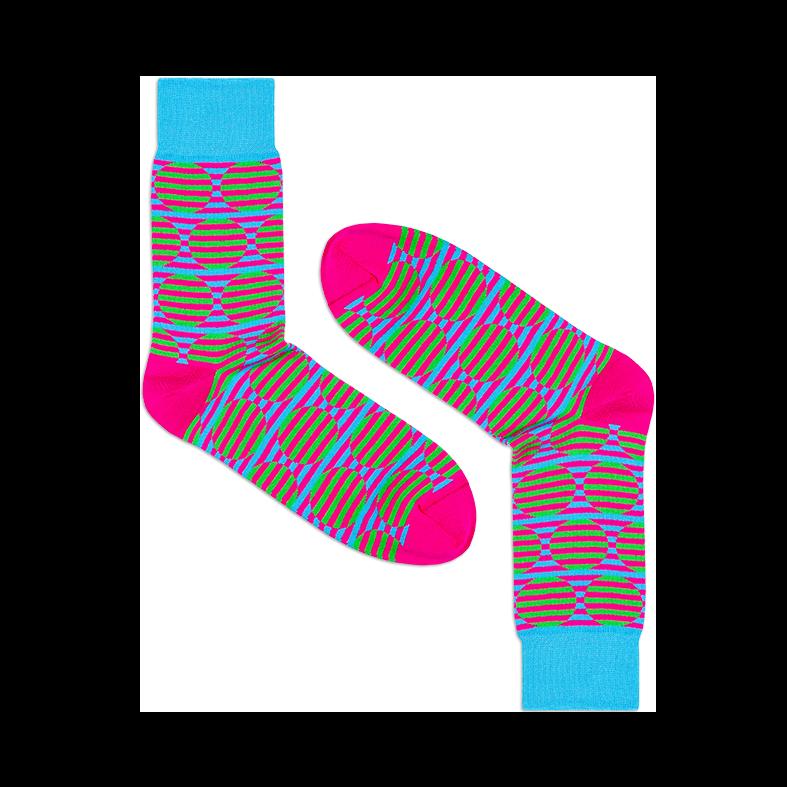 Мужские носки высокие Burning heels, круги розовые