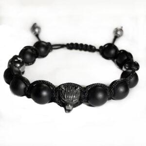 Браслет со стальной бусиной Волк, арт. 00256